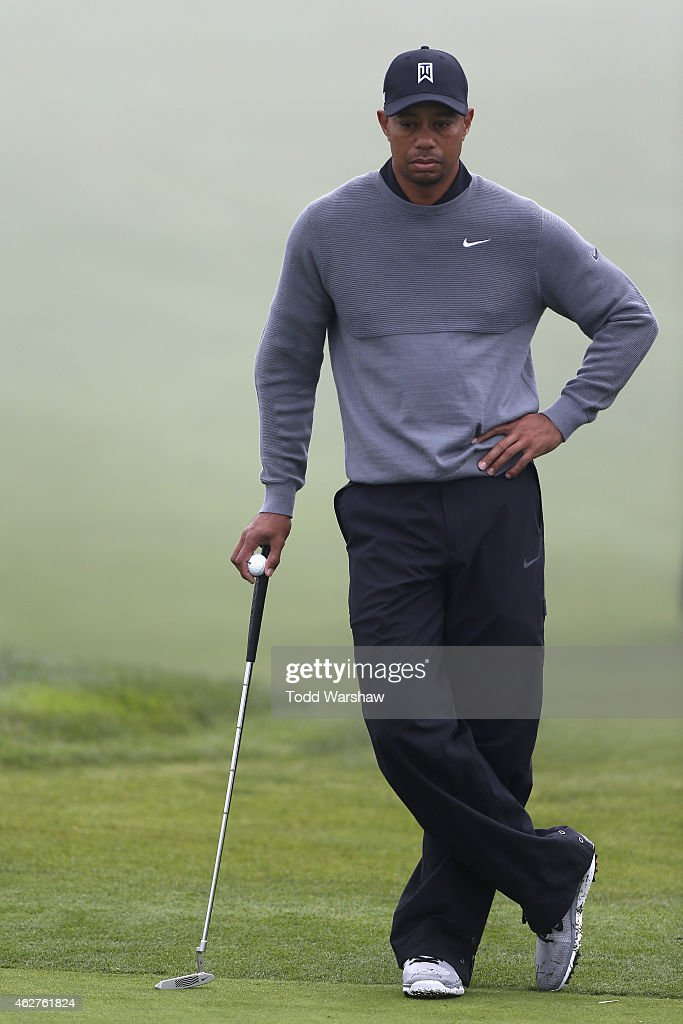 Tiger Woods looks on during the Farmers Insurance Open Pro Am at Torrey Pines Golf Course on February 4, 2015 in San Diego, California.