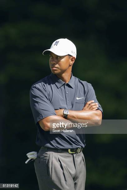 Tiger Woods looks on during the pro-am at the Deutsche Bank Championship at the TPC of Boston on September 2, 2004 in Norton, Massachusetts.