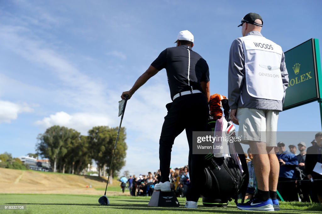 Tiger Woods looks on during the Pro-Am of the Genesis Open at the Riviera Country Club on February 14, 2018 in Pacific Palisades, California.
