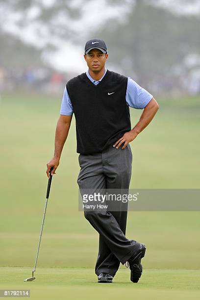 Tiger Woods looks on during the third round of the 108th US Open at the Torrey Pines Golf Course on June 14 2008 in San Diego California