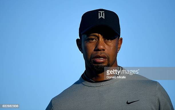 Tiger Woods looks on during the Zurich ProAm Farmers Insurance Open Preview Day 3 at Torrey Pines Golf Course on January 25 2017 in La Jolla...