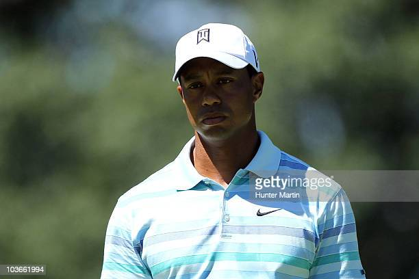 Tiger Woods looks on from the 12th green during the second round of The Barclays at the Ridgewood Country Club on August 27 2010 in Paramus New Jersey