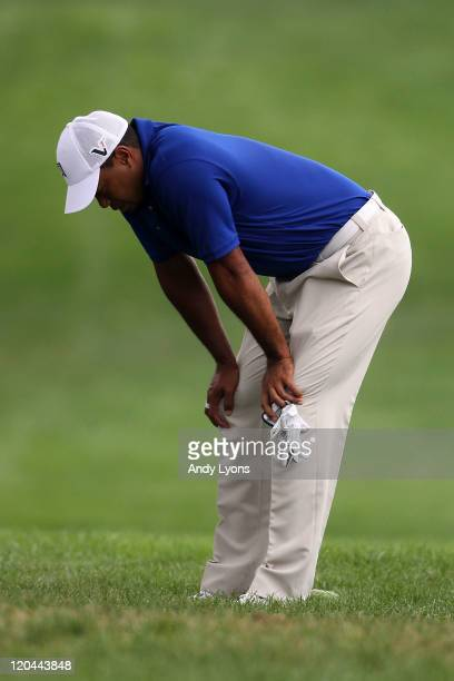 Tiger Woods looks on from the fairway on the sixth hole during the third round of the World Golf Championships-Bridgestone Invitational on the South...
