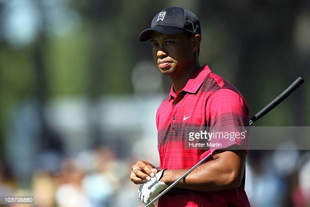 Tiger Woods looks on from the first fairway during the final round of The Barclays at the Ridgewood Country Club on August 29 2010 in Paramus New...