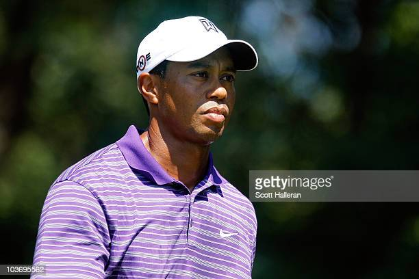 Tiger Woods looks on from the tee box on the second hole during the third round of The Barclays at the Ridgewood Country Club on August 28 2010 in...