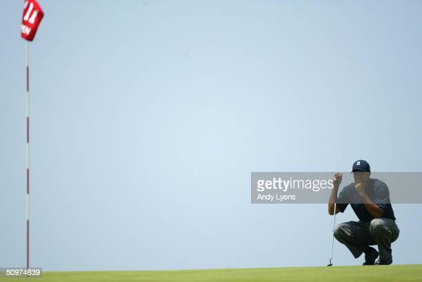 Tiger Woods looks over the 11th green during the second round of the 104th US Open at Shinnecock Hills Golf Club on June 18 2004 in Southampton New...