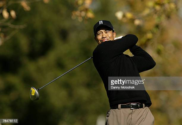 Tiger Woods makes a tee shot on the fifth hole during the second round of the Target World Challenge at the Sherwood Country Club on December 14 2007...