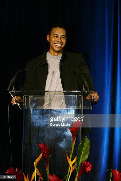 Tiger Woods makes his acceptance speach for the Arnold Palmer Jack Nicklaus and Byron Nelson Award Trophies all of which he won during the PGA Awards...
