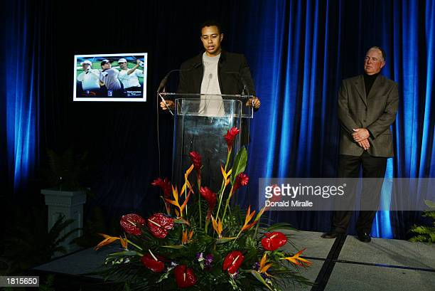 Tiger Woods makes his acceptance speach for the Arnold Palmer Jack Nicklaus and Byron Nelson Award Trophies all of which he won as friend Mark...