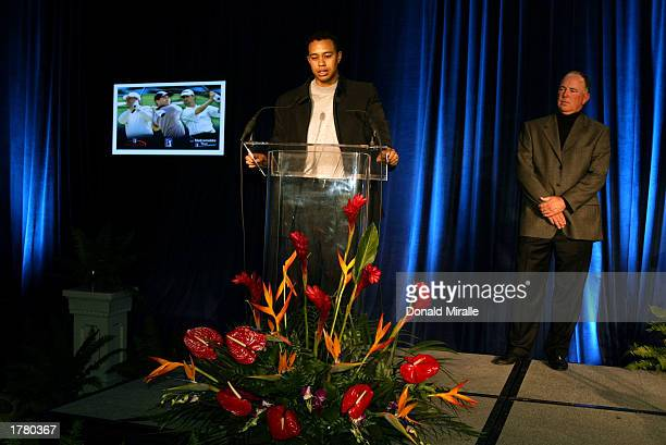 Tiger Woods makes his acceptance speech for the Arnold Palmer Jack Nicklaus and Byron Nelson Award Trophies all of which he won as friend Mark...