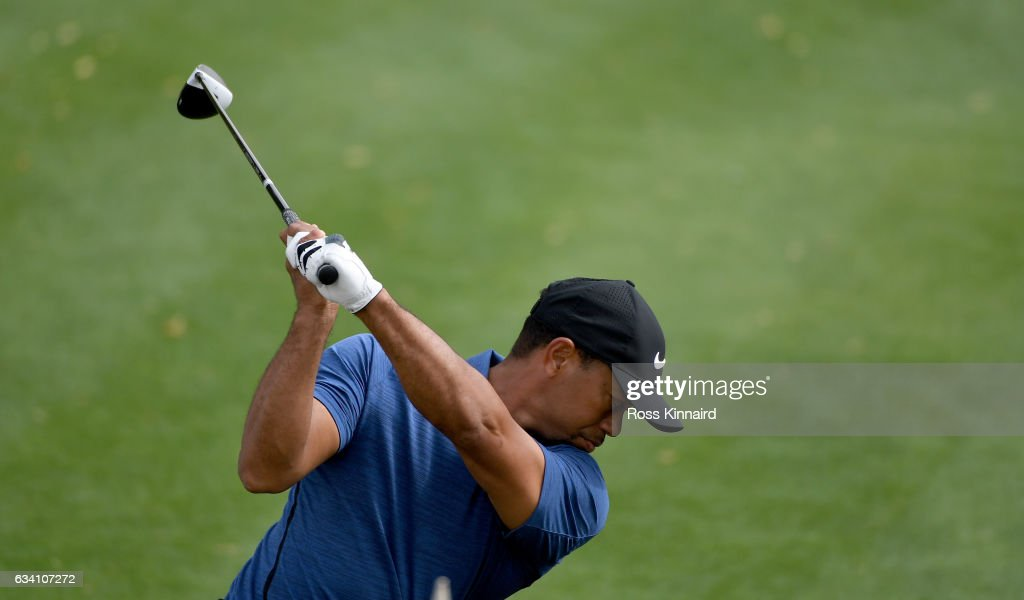 Tiger Woods o f the USA on the 1st tee during the first round of the Omega Dubai Desert Classic at Emirates Golf Club on February 2, 2017 in Dubai, United Arab Emirates.