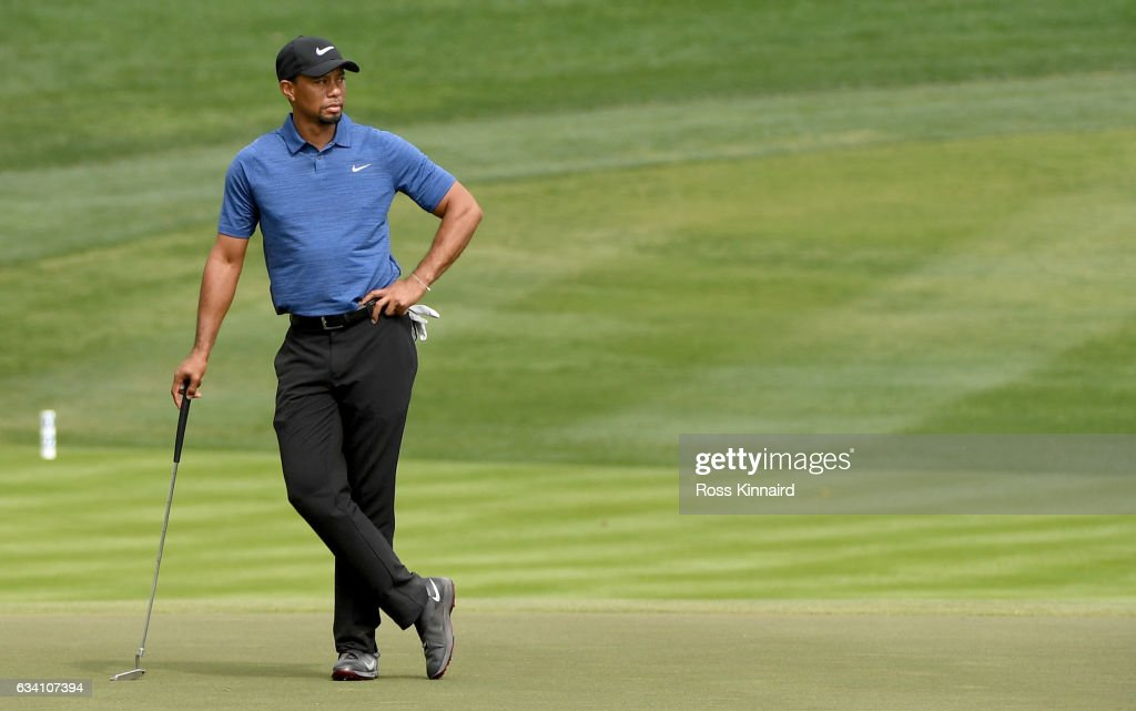 Tiger Woods o f the USA on the 9th green during the first round of the Omega Dubai Desert Classic at Emirates Golf Club on February 2, 2017 in Dubai, United Arab Emirates.