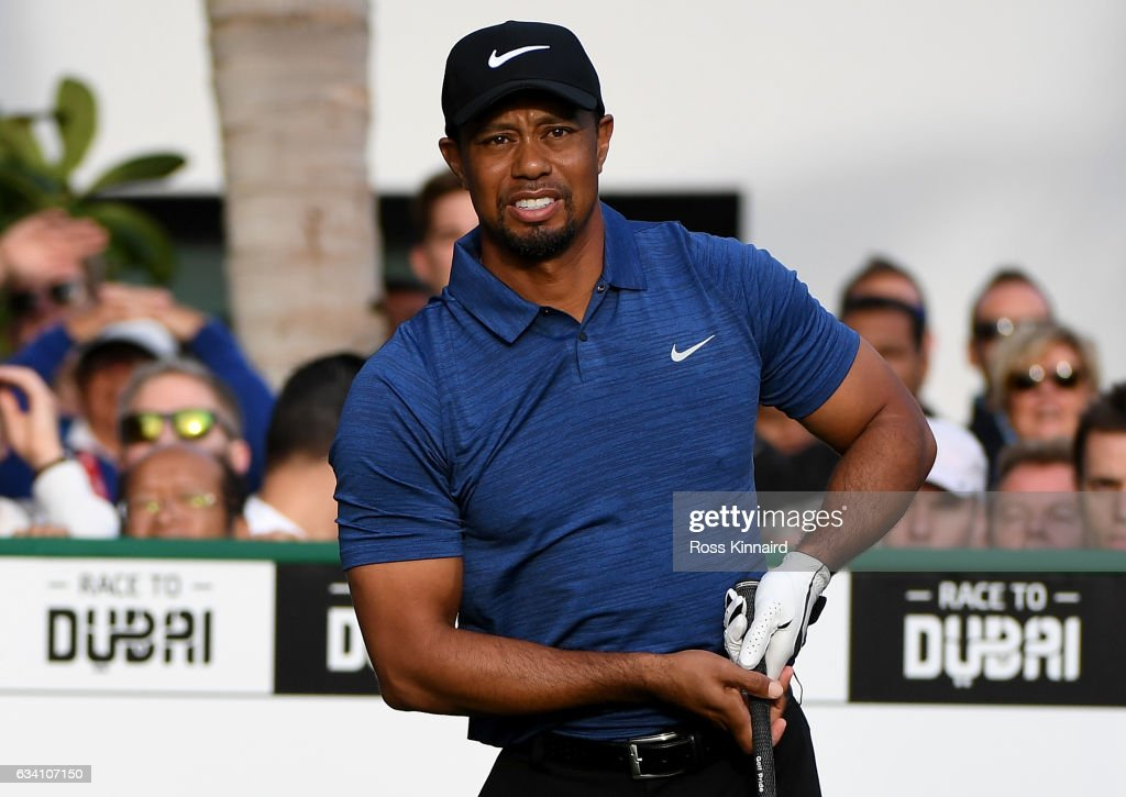 Tiger Woods o f the USA watches his tee shot on the 1st tee during the first round of the Omega Dubai Desert Classic at Emirates Golf Club on February 2, 2017 in Dubai, United Arab Emirates.