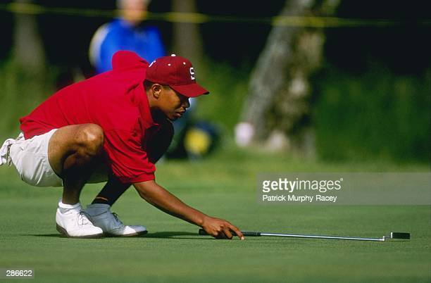 Tiger Woods of Stanford University lines up a putt during his 1st place victory in the Division 1 Men''s Golf Championships at Chatanooga Honors Golf...