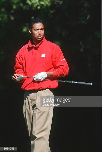 Tiger Woods of Stanford University plays in an NCAA golf tournament in 1995 on the Stanford University Golf Course at Stanford University in Palo...