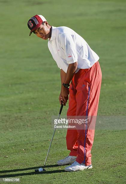 Tiger Woods of Stanford University practices during his freshman year at Stanford in October 1994 on the Stanford University Golf Course at Stanford...
