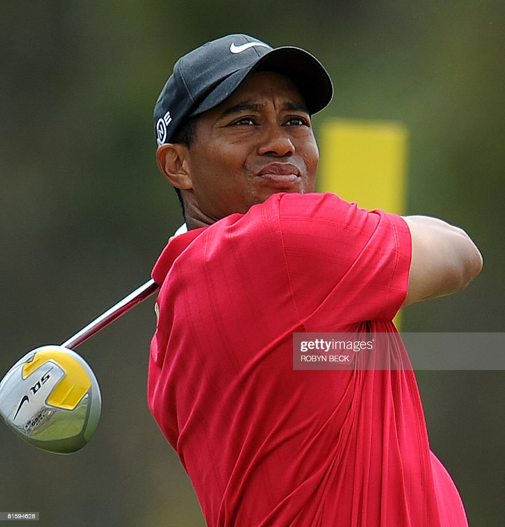 Tiger Woods of the hits on the 11th tee in his playoff match against compatriot Rocco Mediate at the 108th US Open championship at Torrey Pines Golf Course in San Diego, California on June 16, 2008. Woods won in sudden death.