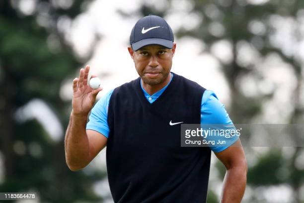 Tiger Woods of the United States acknowledges the gallery after the birdie on the 4th green during the third round of the Zozo Championship at...