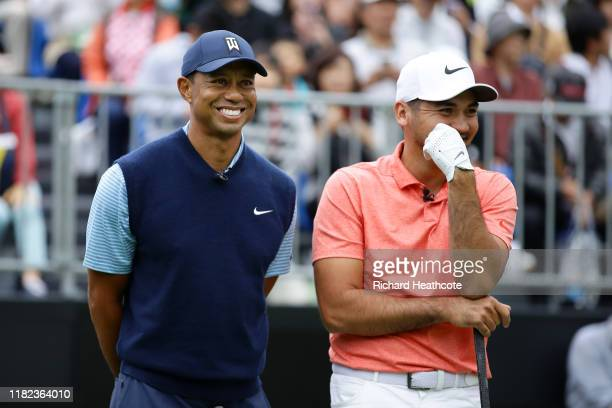 Tiger Woods of the United States and Jason Day of Australia share a laugh on the first tee during The Challenge: Japan Skins at Accordia Golf...