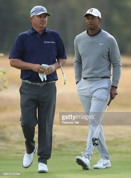Tiger Woods of the United States and Jason Dufner of the United States during previews to the 147th Open Championship at Carnoustie Golf Club on July...