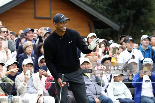 Tiger Woods of the United States attends the Tiger Woods Clinic after the first round of the ZOZO Championship at Accordia Golf Narashino Country...