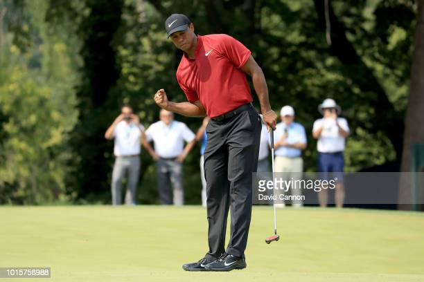 Tiger Woods of the United States celebrates a birdie on the ninth hole during the final round of the 100th PGA Championship at the Bellerive Country...