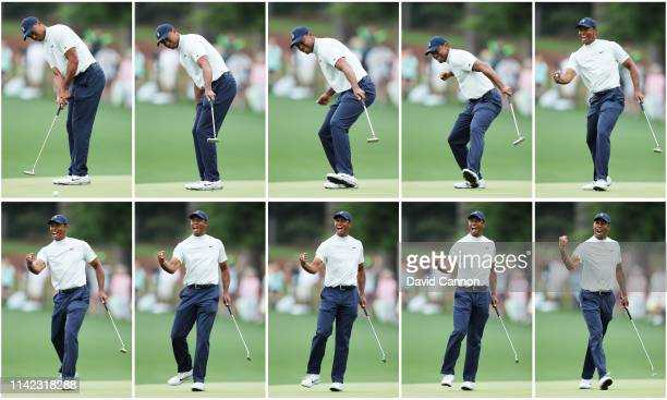 Tiger Woods of the United States celebrates after making a putt for birdie on the 15th green during the second round of the Masters at Augusta...