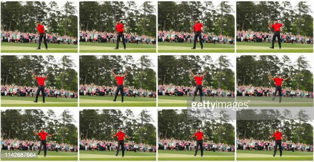 Tiger Woods of the United States celebrates after making his putt on the 18th green to win the Masters at Augusta National Golf Club on April 14,...