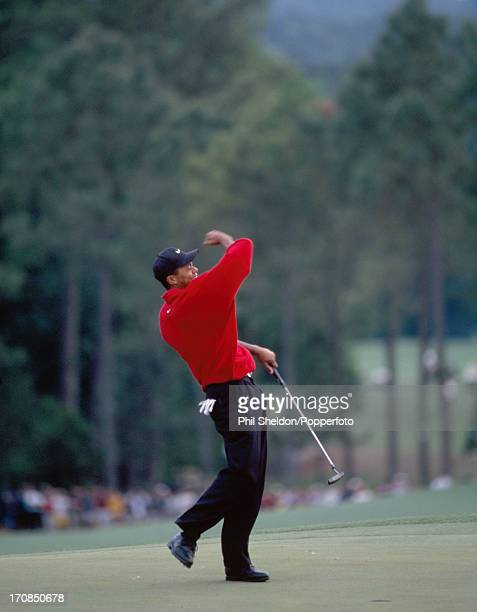 Tiger Woods of the United States celebrates after winning the US Masters Golf Tournament held at the Augusta National Golf Club in Georgia on 13th...
