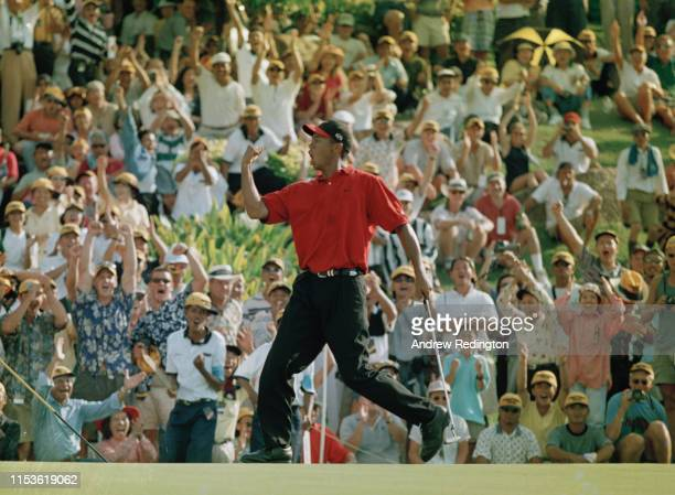 Tiger Woods of the United States celebrates his play-off victory over Ernie Els of South Africa during the Johnnie Walker Classic on 25th January...