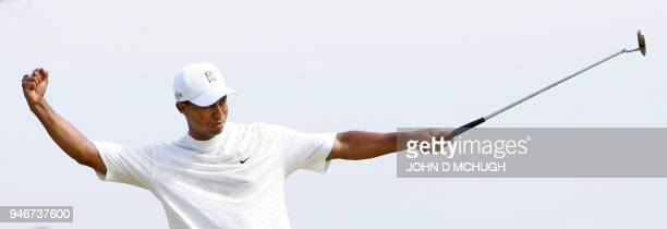 Tiger Woods of the United States celebrates on the 8th hole during the second round of the 135th British Open Golf Championships in Hoylake in...