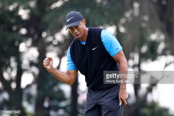Tiger Woods of the United States celebrates the birdie on the 4th green during the third round of the Zozo Championship at Accordia Golf Narashino...