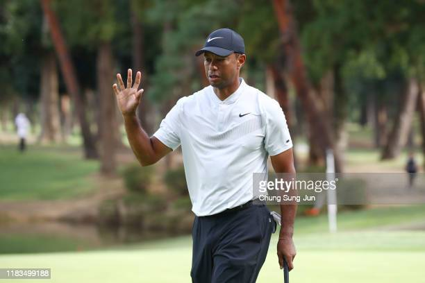 Tiger Woods of the United States celebrates the birdie on the 7th green during the second round of the Zozo Championship at Accordia Golf Narashino...