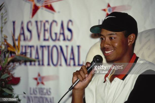 Tiger Woods of the United States celebrates winning his first professional golf tournament at the PGA Las Vegas Invitational on 6th October 1996 at...