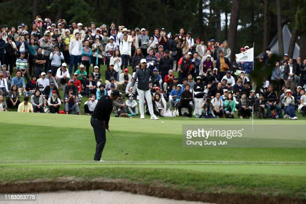 Tiger Woods of the United States chips onto the 8th green during the first round of the ZOZO Championship at Accordia Golf Narashino Country Club on...