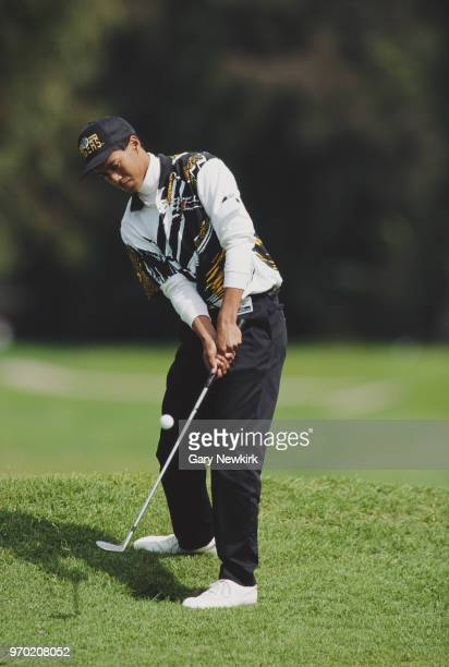 Tiger Woods of the United States chips onto the green during the Nissan Los Angeles Open golf tournament on 26 February 1993 at the Riviera Country...
