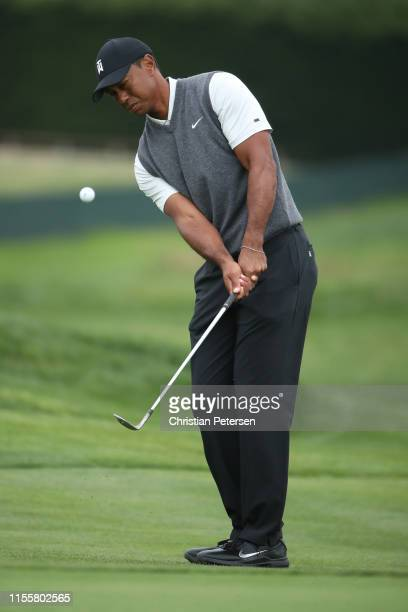 Tiger Woods of the United States chips to the green on the 13th hole during the first round of the 2019 U.S. Open at Pebble Beach Golf Links on June...