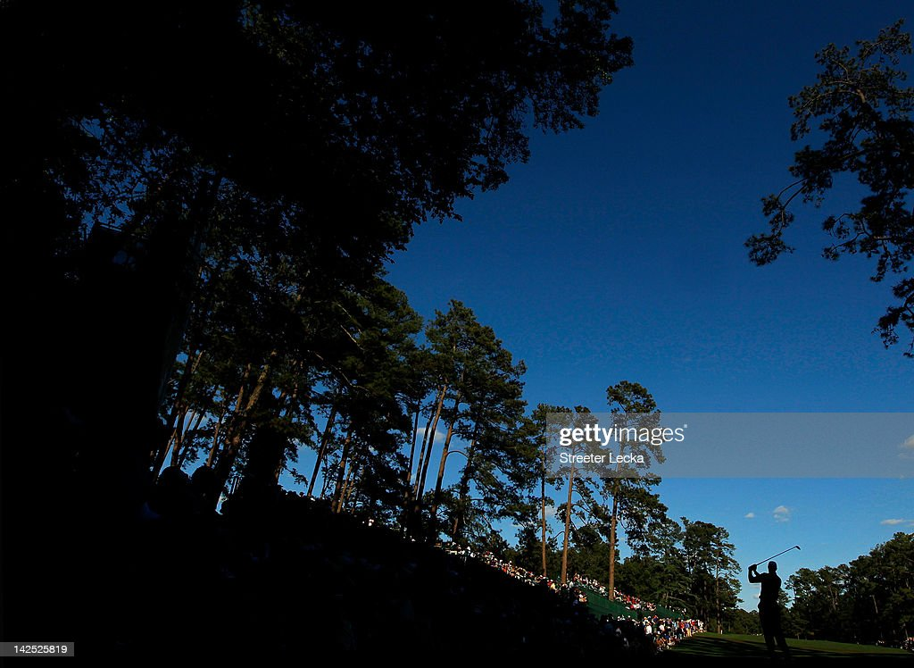 Tiger Woods of the United States hits a tee shot on the 14th hole during the second round of the 2012 Masters Tournament at Augusta National Golf Club on April 6, 2012 in Augusta, Georgia.