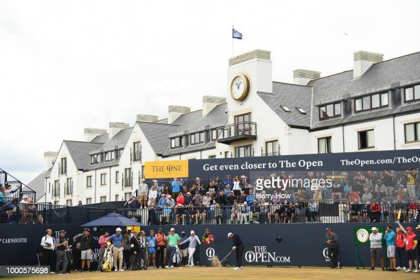 Tiger Woods of the United States hits a tee shot on the first hole during previews to the 147th Open Championship at Carnoustie Golf Club on July 16...