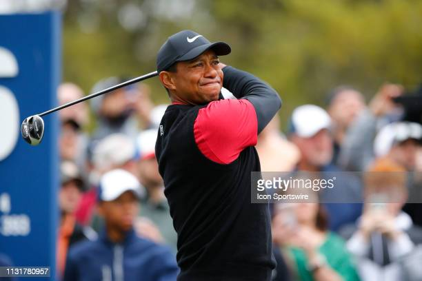 Tiger Woods of the United States hits a tee shot on the sixth hole during the final round of THE PLAYERS Championship on March 17 2019 on the Stadium...