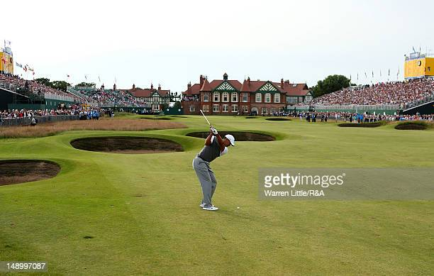 Tiger Woods of the United States hits an approach shot on the 18th hole during the third round of the 141st Open Championship at Royal Lytham St...