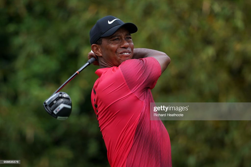 Tiger Woods of the United States hits driver off the 11th tee during the final round of THE PLAYERS Championship on the Stadium Course at TPC Sawgrass on May 13, 2018 in Ponte Vedra Beach, Florida.