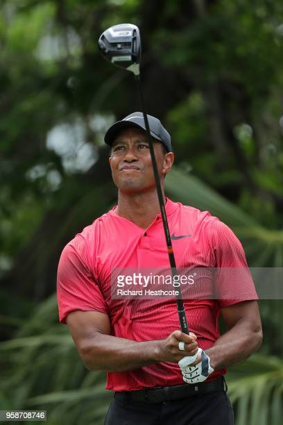 Tiger Woods of the United States hits driver off the 5th tee during the final round of THE PLAYERS Championship on the Stadium Course at TPC Sawgrass...