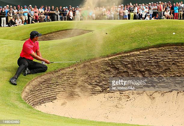 Tiger Woods of the United States hits his 3rd shot on the 6th hole during the final round of the 141st Open Championship at Royal Lytham & St. Annes...