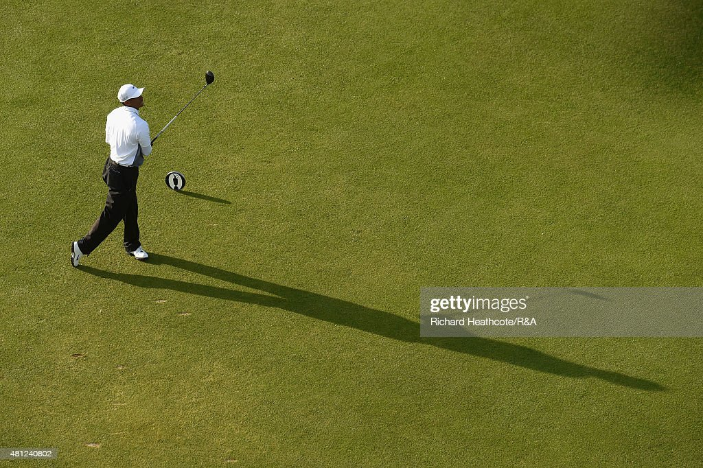 Tiger Woods of the United States hits his tee shot off the 18th hole during the second round of the 144th Open Championship at The Old Course on July 18, 2015 in St Andrews, Scotland.
