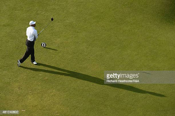 Tiger Woods of the United States hits his tee shot off the 18th hole during the second round of the 144th Open Championship at The Old Course on July...