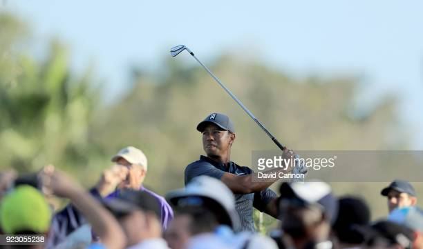 Tiger Woods of the United States hits his tee shot on the 11th hole during the first round of the 2018 Honda Classic on The Champions Course at PGA...