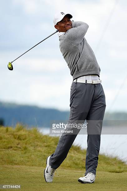 Tiger Woods of the United States hits his tee shot on the 12th hole during the second round of the 115th U.S. Open Championship at Chambers Bay on...