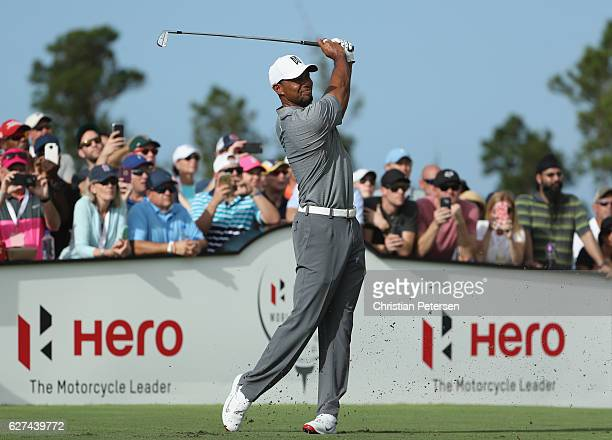 Tiger Woods of the United States hits his tee shot on the 12th hole during round three of the Hero World Challenge at Albany The Bahamas on December...