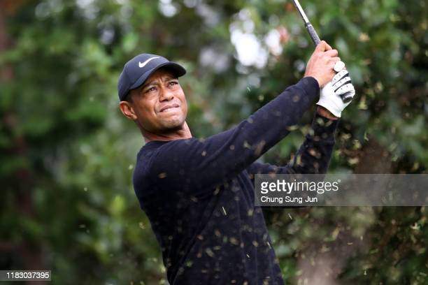 Tiger Woods of the United States hits his tee shot on the 13th hole during the first round of the ZOZO Championship at Accordia Golf Narashino...